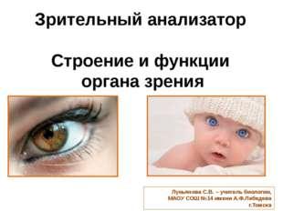 Зрительный анализатор Строение и функции органа зрения Лукьянова С.В. – учит