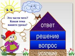 условие вопрос ответ решение Это части чего? Какая тема нашего урока?