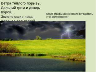 Ветра тёплого порывы, Дальний гром и дождь порой… Зеленеющие нивы Зеленее под