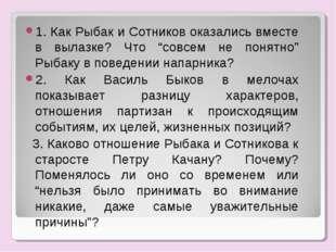 """1. Как Рыбак и Сотников оказались вместе в вылазке? Что """"совсем не понятно"""" Р"""