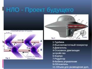 НЛО - Проект будущего 1-Турбина 2-Высокочастотный генератор 3-Двигатель 4-Осн