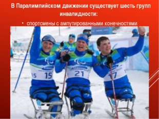 В Паралимпийском движении существует шесть групп инвалидности: спортсмены с