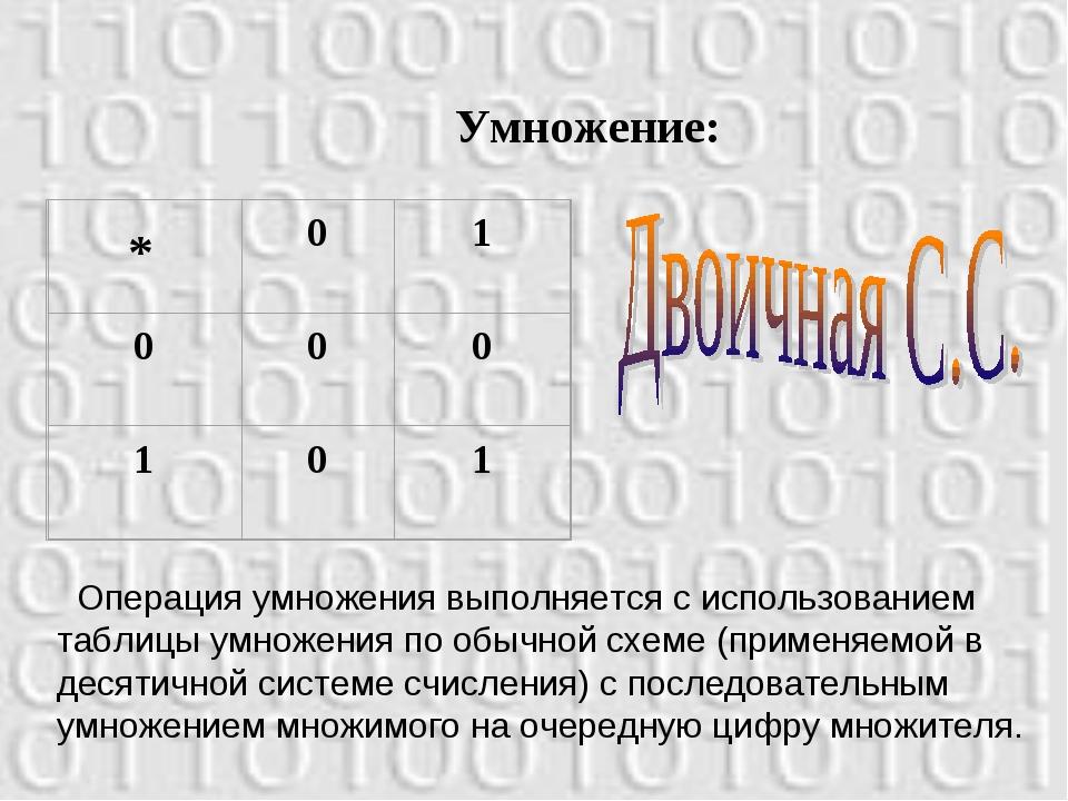 Умножение: Операция умножения выполняется с использованием таблицы умножения...