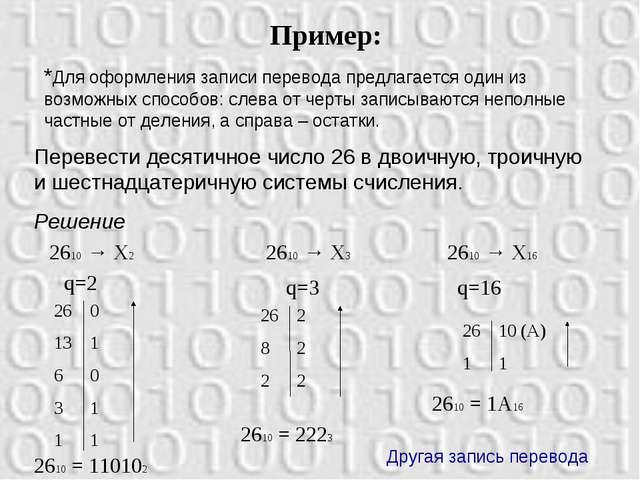 *Для оформления записи перевода предлагается один из возможных способов: слев...