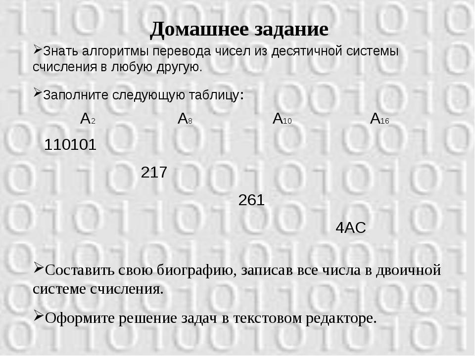 Домашнее задание Знать алгоритмы перевода чисел из десятичной системы счислен...