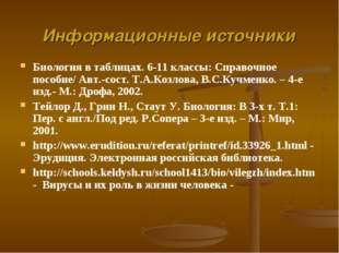 Биология в таблицах. 6-11 классы: Справочное пособие/ Авт.-сост. Т.А.Козлова,