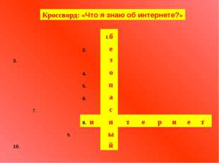 Кроссворд: «Что я знаю об интернете?» и т е р н е т 1.б 2.  е