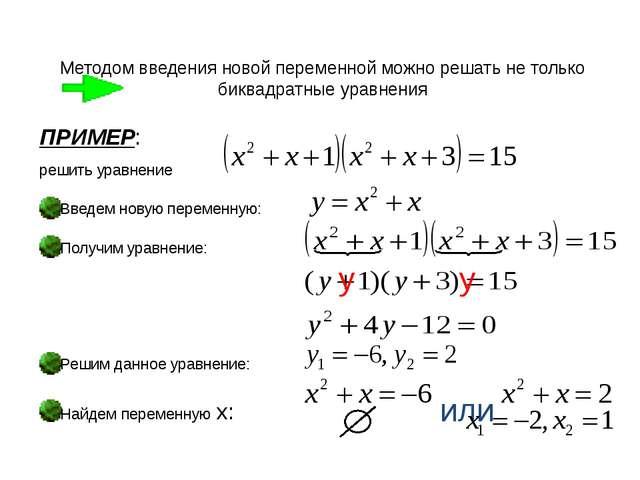 Методом введения новой переменной можно решать не только биквадратные уравнен...
