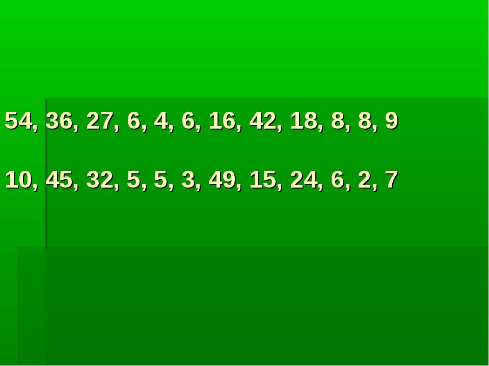54, 36, 27, 6, 4, 6, 16, 42, 18, 8, 8, 9 10, 45, 32, 5, 5, 3, 49, 15, 24, 6,...