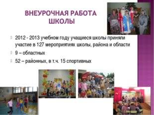 2012 - 2013 учебном году учащиеся школы приняли участие в 127 мероприятиях шк