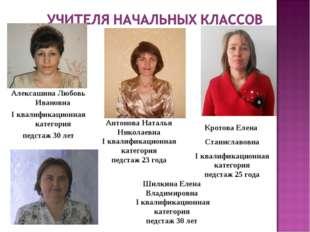 Алексашина Любовь Ивановна I квалификационная категория педстаж 30 лет Антоно