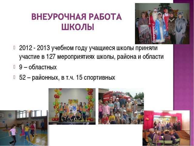 2012 - 2013 учебном году учащиеся школы приняли участие в 127 мероприятиях шк...