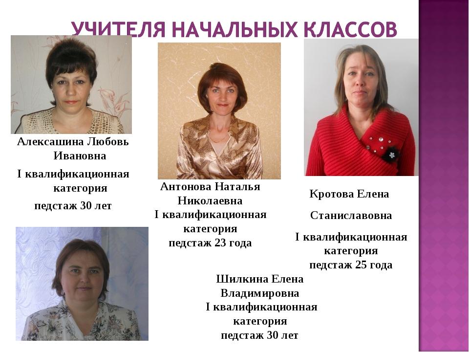 Алексашина Любовь Ивановна I квалификационная категория педстаж 30 лет Антоно...