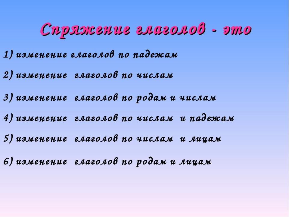 Спряжение глаголов - это 1) изменение глаголов по падежам 2) изменение глагол...