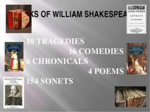 WORKS OF WILLIAM SHAKESPEARE 10 TRAGEDIES 16 COMEDIES 6 CHRONICALS 4 POEMS 15