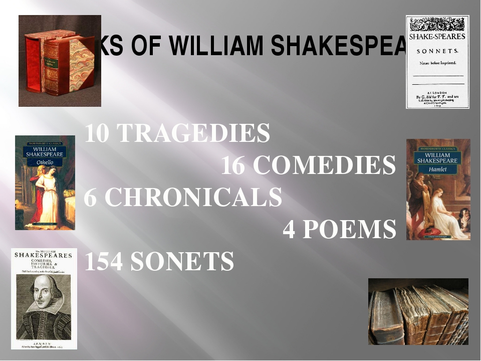 WORKS OF WILLIAM SHAKESPEARE 10 TRAGEDIES 16 COMEDIES 6 CHRONICALS 4 POEMS 15...