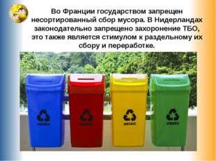 Во Франции государством запрещен несортированный сбор мусора. В Нидерландах з