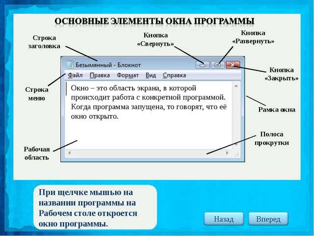 При щелчке мышью на названии программы на Рабочем столе откроется окно програ...
