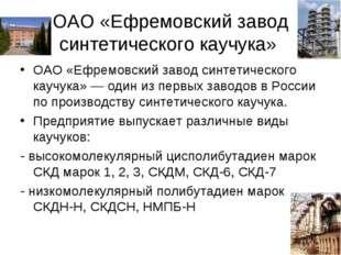 ОАО «Ефремовский завод синтетического каучука» ОАО «Ефремовский завод синтети