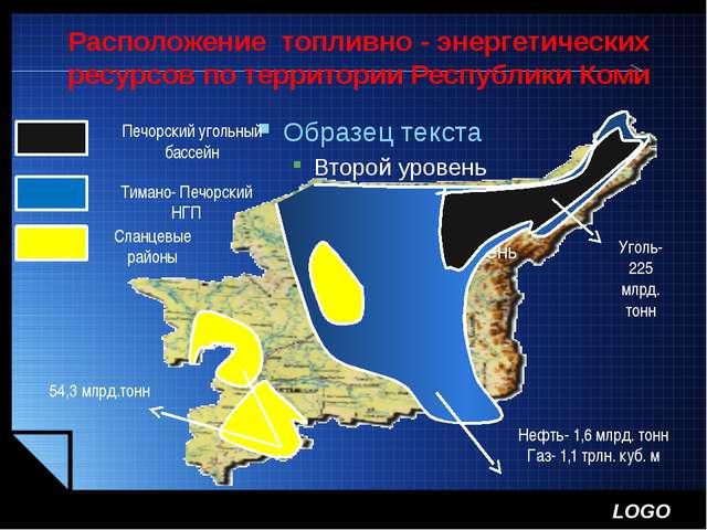 Расположение топливно - энергетических ресурсов по территории Республики Коми...