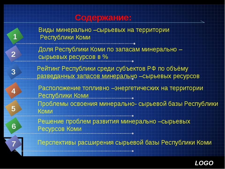 Содержание: Виды минерально –сырьевых на территории Республики Коми 1 Доля Ре...