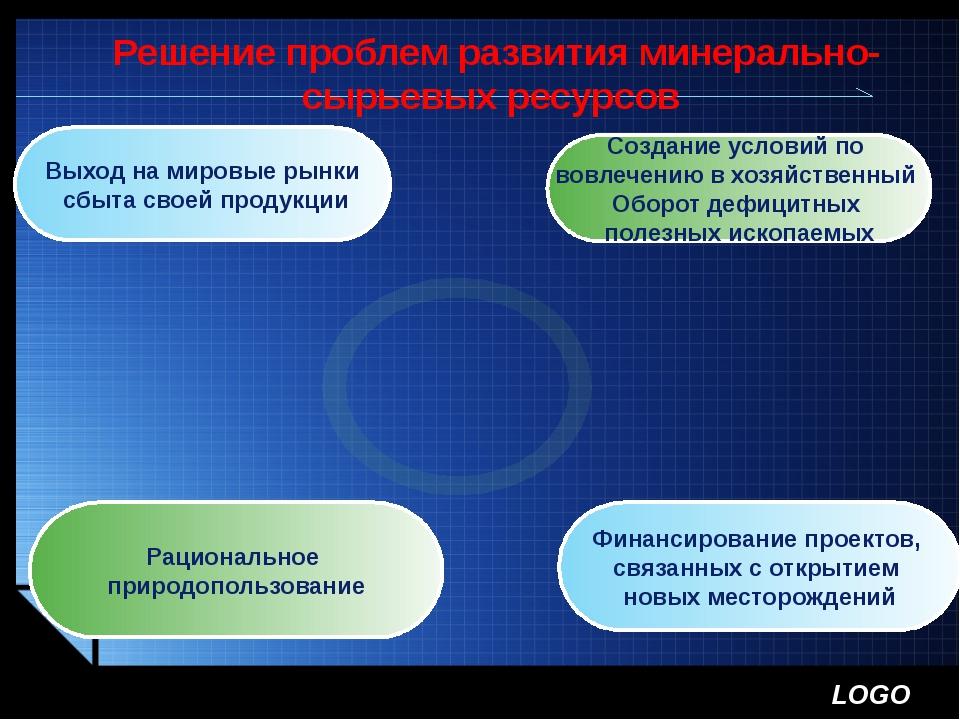 Решение проблем развития минерально- сырьевых ресурсов Создание условий по во...