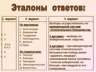 1 вариант 1. 3 2. 3 А-2,4 Б-1,3 4. 4 5. 3 2 вариант По вертикали: 1. Конститу
