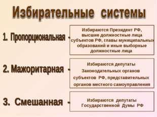 Избираются Президент РФ, высшие должностные лица субъектов РФ, главы муниципа