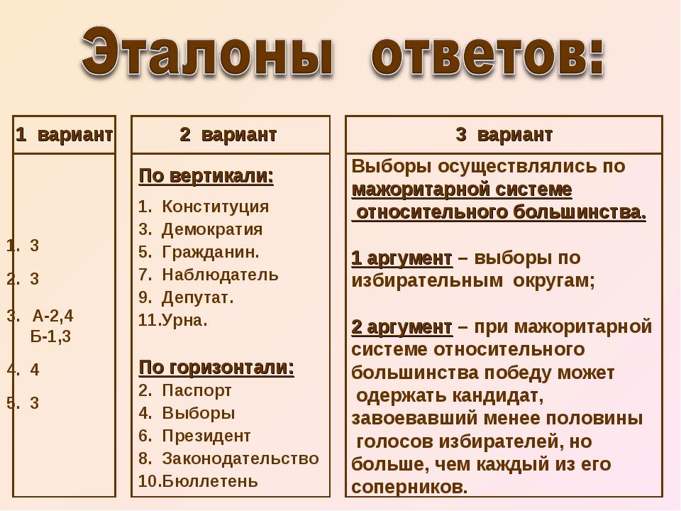 1 вариант 1. 3 2. 3 А-2,4 Б-1,3 4. 4 5. 3 2 вариант По вертикали: 1. Конститу...