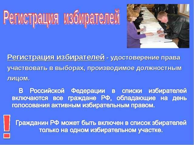 Регистрация избирателей - удостоверение права участвовать в выборах, производ...