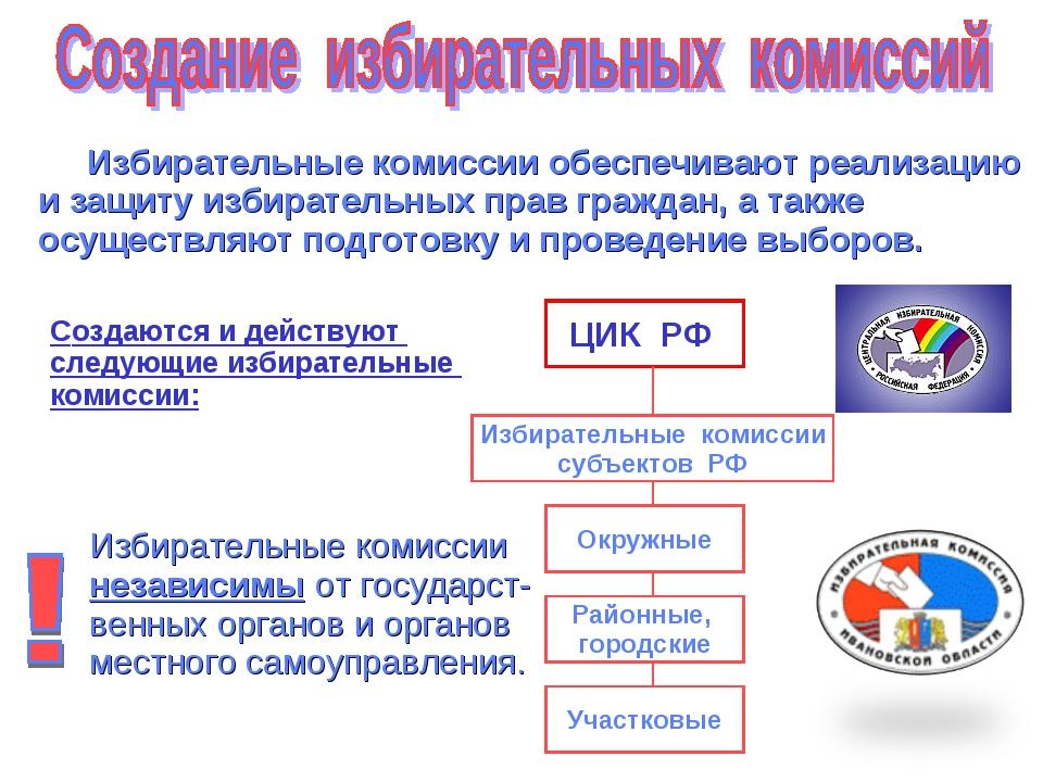 Избирательные комиссии обеспечивают реализацию и защиту избирательных прав г...