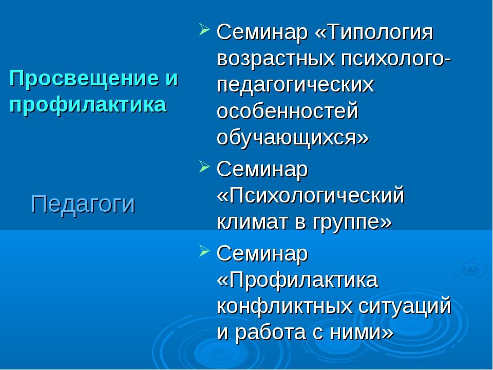 Просвещение и профилактика Семинар «Типология возрастных психолого-педагогиче...