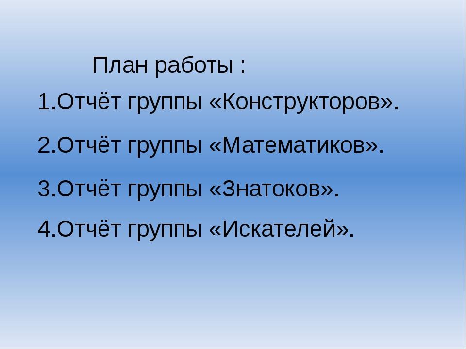 План работы : 1.Отчёт группы «Конструкторов». 2.Отчёт группы «Математиков». 3...
