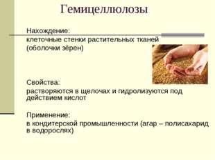 Гемицеллюлозы Нахождение: клеточные стенки растительных тканей (оболочки з