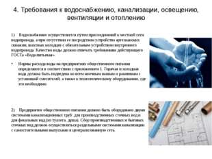 4. Требования к водоснабжению, канализации, освещению, вентиляции и отоплению
