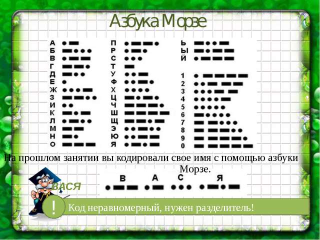 На прошлом занятии вы кодировали свое имя с помощью азбуки Морзе. Азбука Морз...
