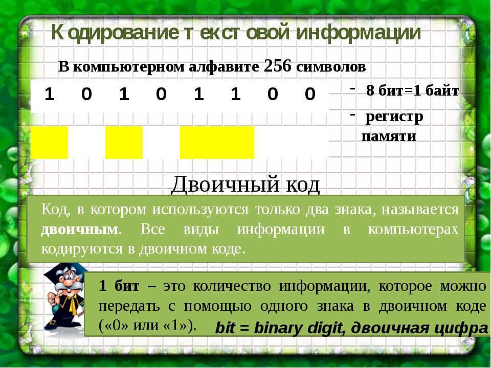 В компьютерном алфавите 256 символов Кодирование текстовой информации 8 бит=1...
