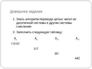 Домашнее задание 1. Знать алгоритм перевода целых чисел из десятичной системы