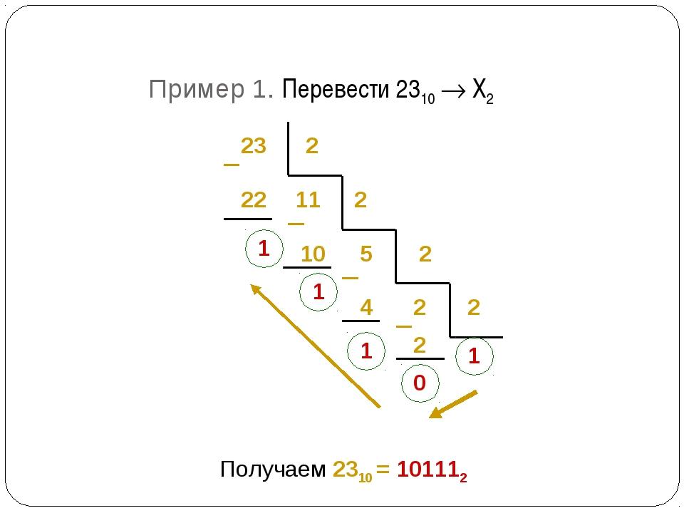 23 2 22 1 11 2 10 1 5 2 2 4 1 2 2 0 1 Получаем 2310 = 101112 Пример 1. Переве...