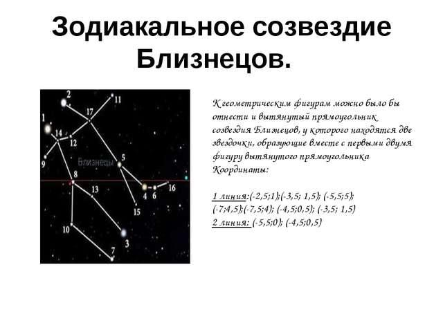 Зодиакальное созвездие Близнецов. К геометрическим фигурам можно было бы отн...