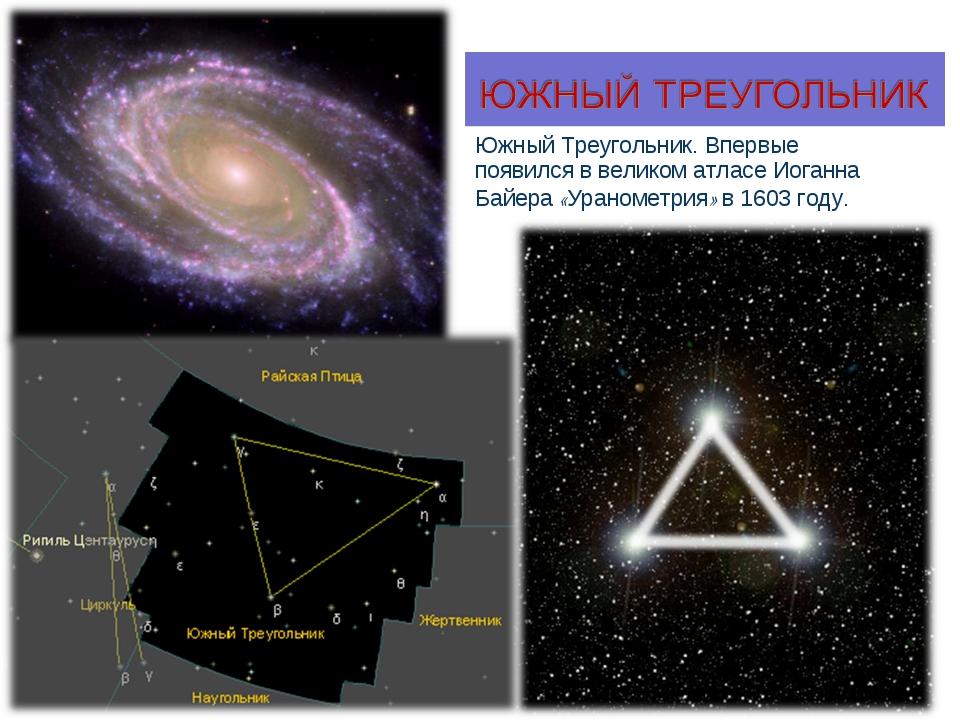 Южный Треугольник. Впервые появился в великом атласе Иоганна Байера «Ураномет...