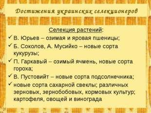 Достижения украинских селекционеров Селекция растений: В. Юрьев – озимая и яр