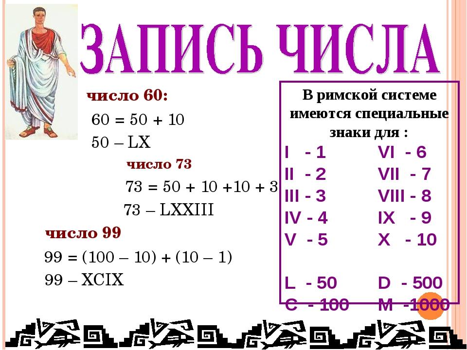 число 60: 60 = 50 + 10 50 – LX число 73 73 = 50 + 10 +10 + 3 73 – LXXIII чис...