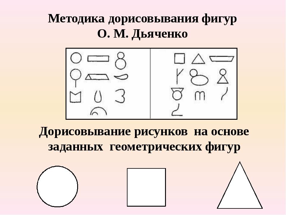 Методика дорисовывания фигур О. М. Дьяченко Дорисовывание рисунков на основе...