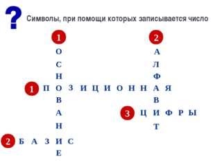 Символы, при помощи которых записывается число 1 П О З И Ц И О Н Н А Я 2 А Б