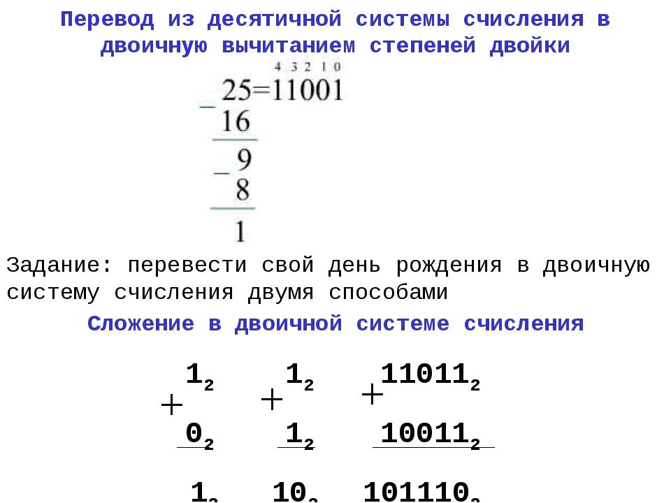 Перевод из десятичной системы счисления в двоичную вычитанием степеней двойки...