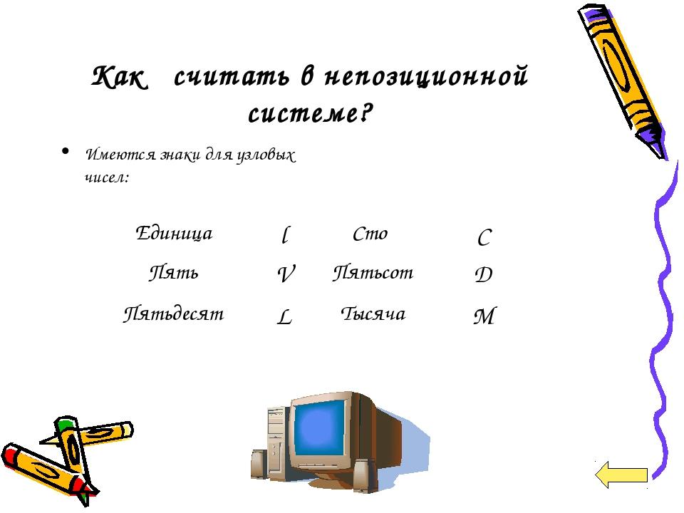 Как считать в непозиционной системе? Имеются знаки для узловых чисел: