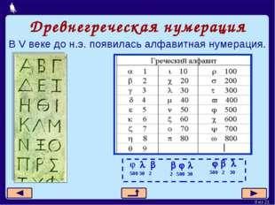 Древнегреческая нумерация В V веке до н.э. появилась алфавитная нумерация. Мо