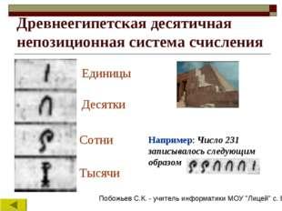 Древнеегипетская десятичная непозиционная система счисления Единицы Десятки С