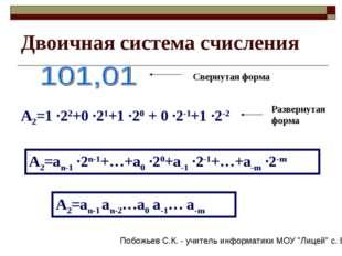 Двоичная система счисления Свернутая форма А2=1 ·22+0 ·21+1 ·20 + 0 ·2-1+1 ·2